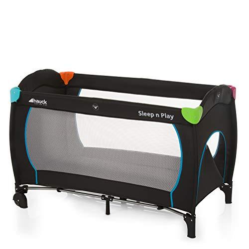 Hauck Sleep N Play Go Plus Kombi-Reisebett, 4-teilig, ab Geburt bis 15 kg, inkl. Gesetzl. Schlupf, Rollen, Matratze, Tragetasche, mehrfarbig schwarz