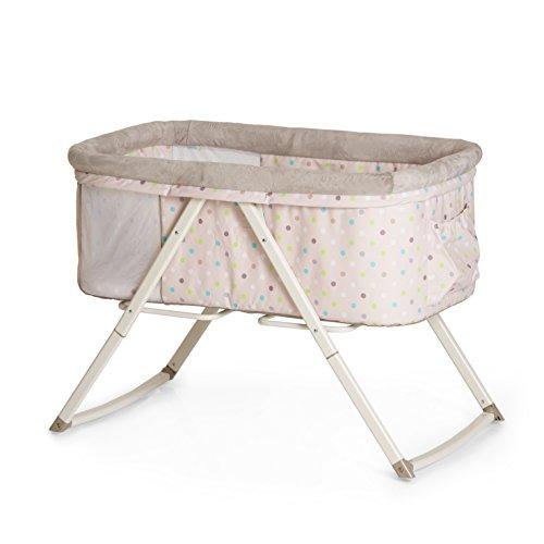 Hauck Dreamer Babywiege, Stubenwagen, Beistellbett, Reisebett, inklusive Matratze und Spielzeugtasche, mit Schaukelfunktion, faltbar, klappbar und tragbar, beige (Multi Dots Sand)