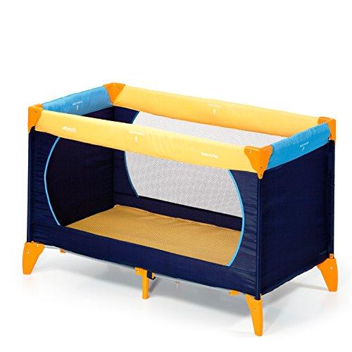 Hauck Kinderreisebett Dream N Play / inklusive Matratze und Tasche / 120 x 60cm / ab Geburt / tragbar und faltbar, Yellow Blue Navy (Blau, Gelb)