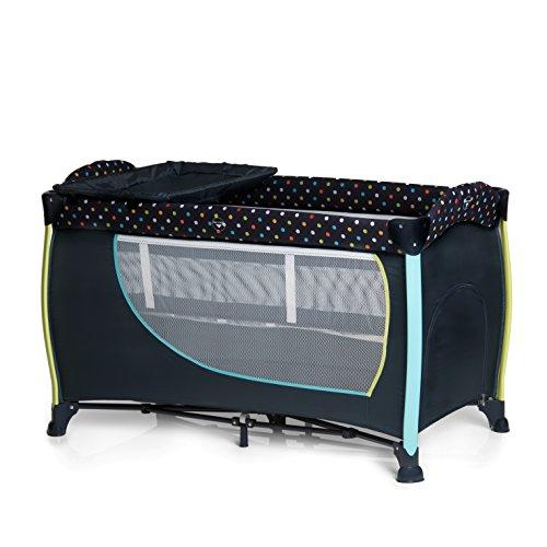 Hauck Sleep N Play Center II Kombi-Reisebett, inkl. Neugeborenen-Einhang, Wickelauflage, Rollen, Matratze, Tragetasche (höhenverstellbar und faltbar), multi dots navy, dunkelblau