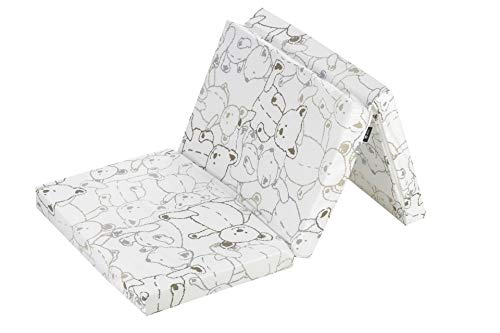 Alvi Reisebettmatratze 60x120cm faltbar | Faltmatratze mit Tragetasche | Dicke Matratze 6 cm | Klappmatratze | Bezug 100% Baumwolle abnehmbar | Kern aus Kaltschaum