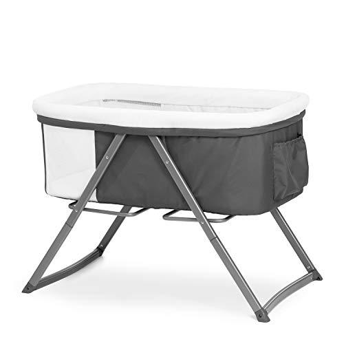 Hauck Dreamer Babywiege/Stubenwagen/Beistell-/Reisebett, inkl. Matratze und Spielzeugtasche, mit Schaukelfunktion, faltbar, klappbar und tragbar, Grau
