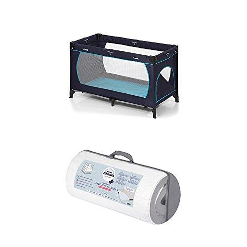Hauck Kinderreisebett Dream N Play Plus, inkl. Julius Zöllner Premium Reisebettmatratze, tragbar und klappbar, 120 x 60 cm, blau (navy aqua)