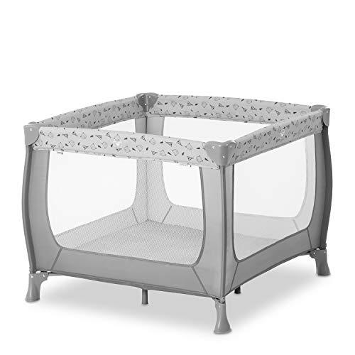 Hauck Sleep N Play SQ, leichtes 3-teiliges, quadratisches Baby-Laufgitter, Reisebett inkl. Faltboden und Tasche, Liegefläche 90 x 90 cm, faltbar und tragbar - grau